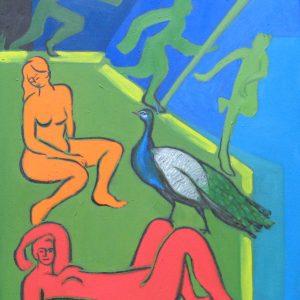 LA CONQUÊTE de la FEMME ; huile ; 60x80cm