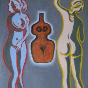 FEMMES, FEMMES, FEMMES I : MATRICE ; huile ; 38x46cm