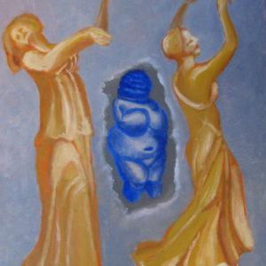 FEMMES, FEMMES,FEMMES 3 : tanagras et statuette ; huile ; 38x46cm