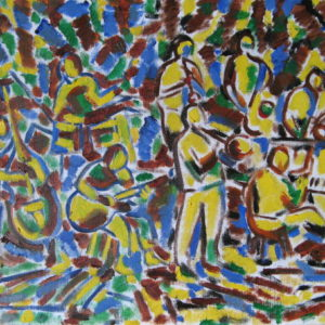 JAZZ BAND AND CO ; huile ; 35.5 x 47.5cm