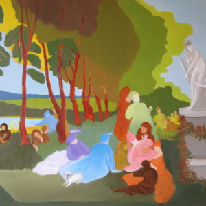 LE THEATRE d'AMOUR ; d'après Watteau : les plaisirs d'amour ; 50x73