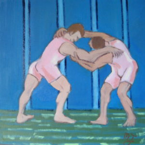 CONFRONTATION MUSCLEE ; huile ; 38.5x38.5cm